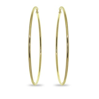 Mondevio 2x70mm Extra Large Round Stainless Steel Hoop Earrings - Silver