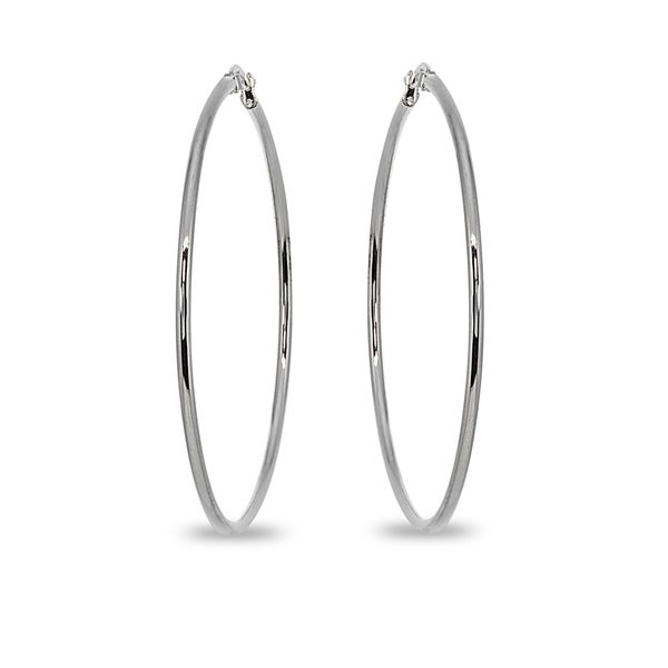 Mondevio 2x55mm Large Round Stainless Steel Hoop Earrings - Silver