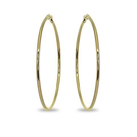 Mondevio 2x55mm Large Round Stainless Steel Hoop Earrings - Silver