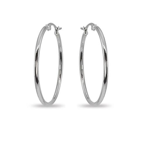 Mondevio 2x45mm Large Round Stainless Steel Hoop Earrings - Silver