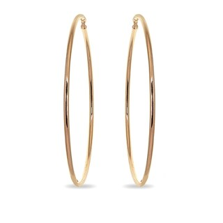 Mondevio 2x65mm Extra Large Round Stainless Steel Hoop Earrings - Silver
