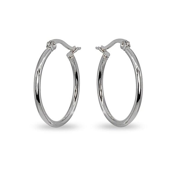 Mondevio 2x30mm Medium Round Stainless Steel Hoop Earrings - Silver
