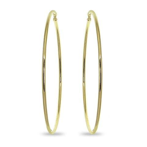 Mondevio 2x75mm Extra Large Round Stainless Steel Hoop Earrings - Silver