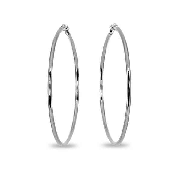 Mondevio 2x50mm Large Round Stainless Steel Hoop Earrings - Silver