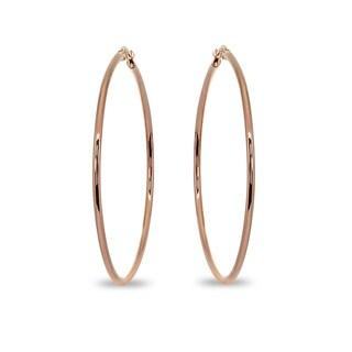 Mondevio 2x50mm Large Round Stainless Steel Hoop Earrings - Silver