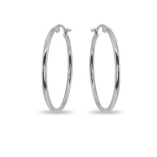 Mondevio 2x40mm Medium Round Stainless Steel Hoop Earrings - Silver