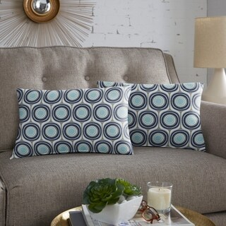 Scott Living Property Brothers Vogue Cyan Taupe Lumbar Pillow, Set of 2