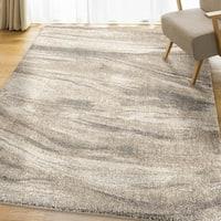 Carolina Weavers Modern Sandstorm Ivory/Greige/Pewter Plush Shag Area Rug (7'8 x 10'8)