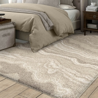 "Carolina Weavers River Rock Ivory Plush Shag Rug - 7'8"" x 10'8"""