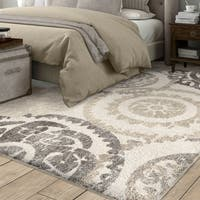 Carolina Weavers White/Grey Distressed Medallion Modern Plush Shag Area Rug - 7'8 x 10'8
