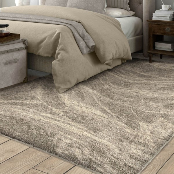 "Carolina Weavers Greige Mixed Marble Plush Shag Area Rug - 7'8"" x 10'8"""