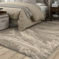 Carolina Weavers Greige Mixed Marble Plush Shag Area Rug - 7'8 x 10'8