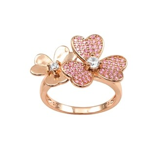 Luxiro Sterling Silver Rose Gold Finish Lab-created Ruby with Cubic Zirconia Double Flower Ring