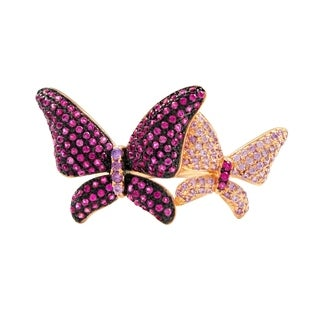 Luxiro Sterling Silver Two-tone Finish Lab-created Ruby with Cubic Zirconia Double Butterfly Ring