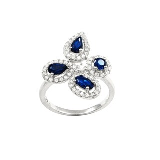 Luxiro Sterling Silver Lab-created Blue Spinel with Cubic Zirconia Delicate Flower Ring