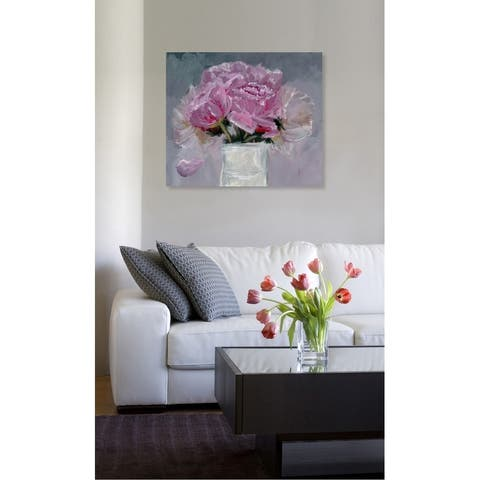 Oliver Gal 'All Pink Forals' Floral and Botanical Wall Art Canvas Print - Pink, Gray