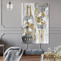 Oliver Gal 'Gold and Light Bubbly' Drinks and Spirits Wall Art Canvas Print - Gold, Gray