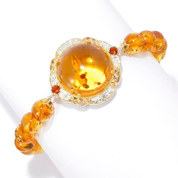 Michael Valitutti Palladium Silver Hand Engraved Amber & Citrine Engraved Toggle Bracelet - Brown