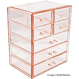 Sorbus Makeup and Jewelry Storage Case Display-3 Large and 4 Small Drawers