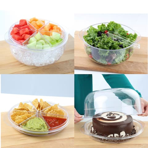 Multi Purpose Acrylic Salad & Appetizer Set - Chill Party Serving Tay & Cake Dome