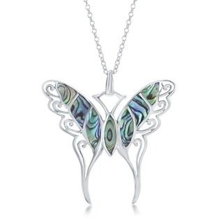 "La Preciosa Sterling Silver Large Abalone Butterfly 18"" Pendant Necklace"