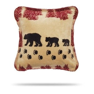 Denali Wheat Denali Bear/Merlot Pillow 18x18