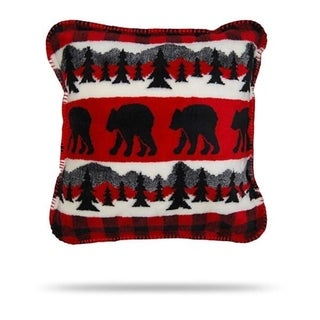 Denali Bear Plaid Border/Black Pillow 18x18