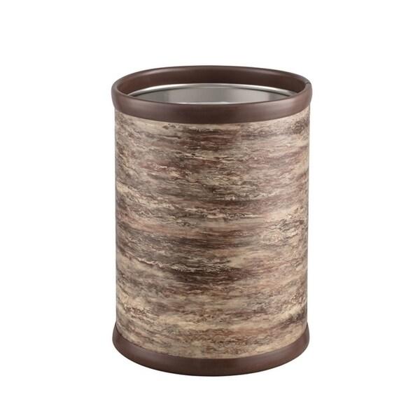 """Brown Stone 10"""" Round Waste Basket"""