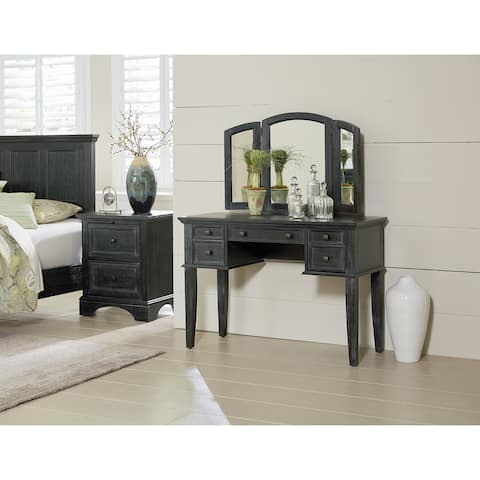 OSP Home Furnishings Farmhouse Basics Vanity and Mirror in Rustic Black