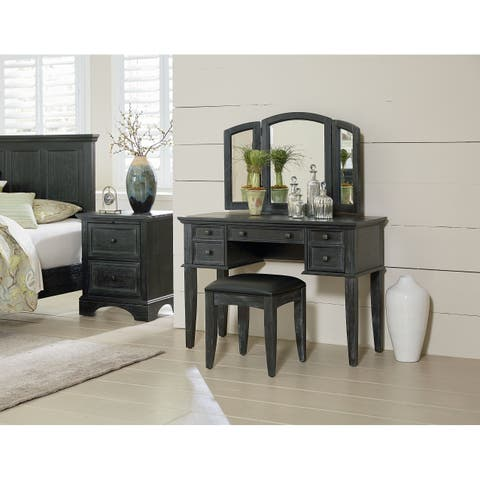 OSP Home Furnishings Farmhouse Basics Vanity and Mirror with Bench in Rustic Black