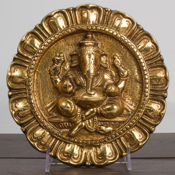 Brass Lord Ganesha 8\  Door Hanging Sculpture Good Luck Protection Blessing Home  sc 1 st  Overstock & Brass Lord Ganesha 8\
