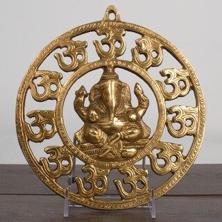 """Brass Lord Ganesha 9"""" Door Hanging Sculpture Good Luck Protection Blessing Home"""