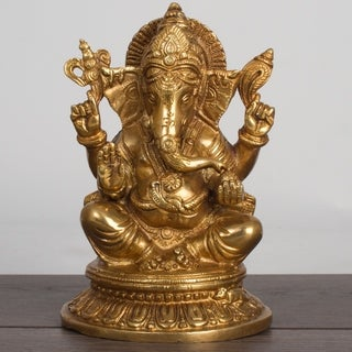 """High Quality Brass Lord Ganesha 8"""" Sculpture Good Luck Protection Blessing Home"""