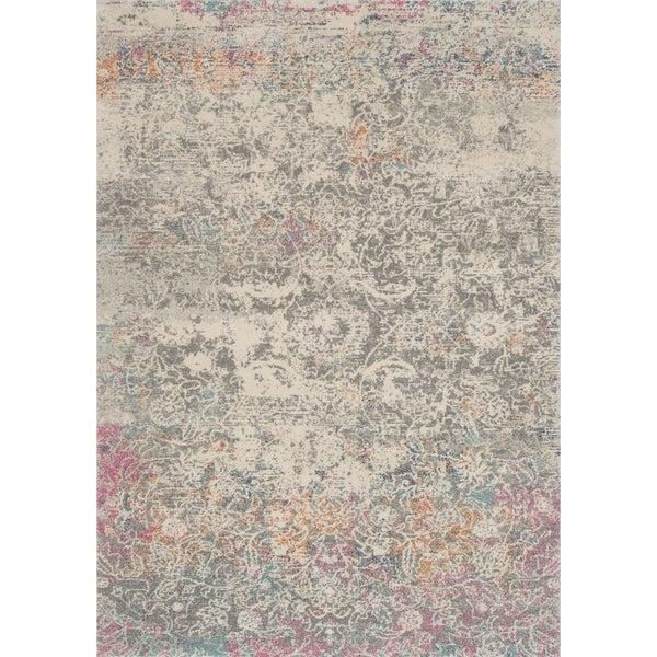 """Bohemian Grey/ Multi Vintage Distressed Floral Rug - 2'2"""" x 3'9"""""""