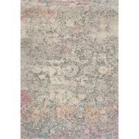 Bohemian Grey/ Multi Vintage Distressed Floral Rug - 2'2 x 3'9