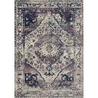 Bohemian Purple/ Multi Vintage Distressed Medallion Rug - 2'2 x 3'9