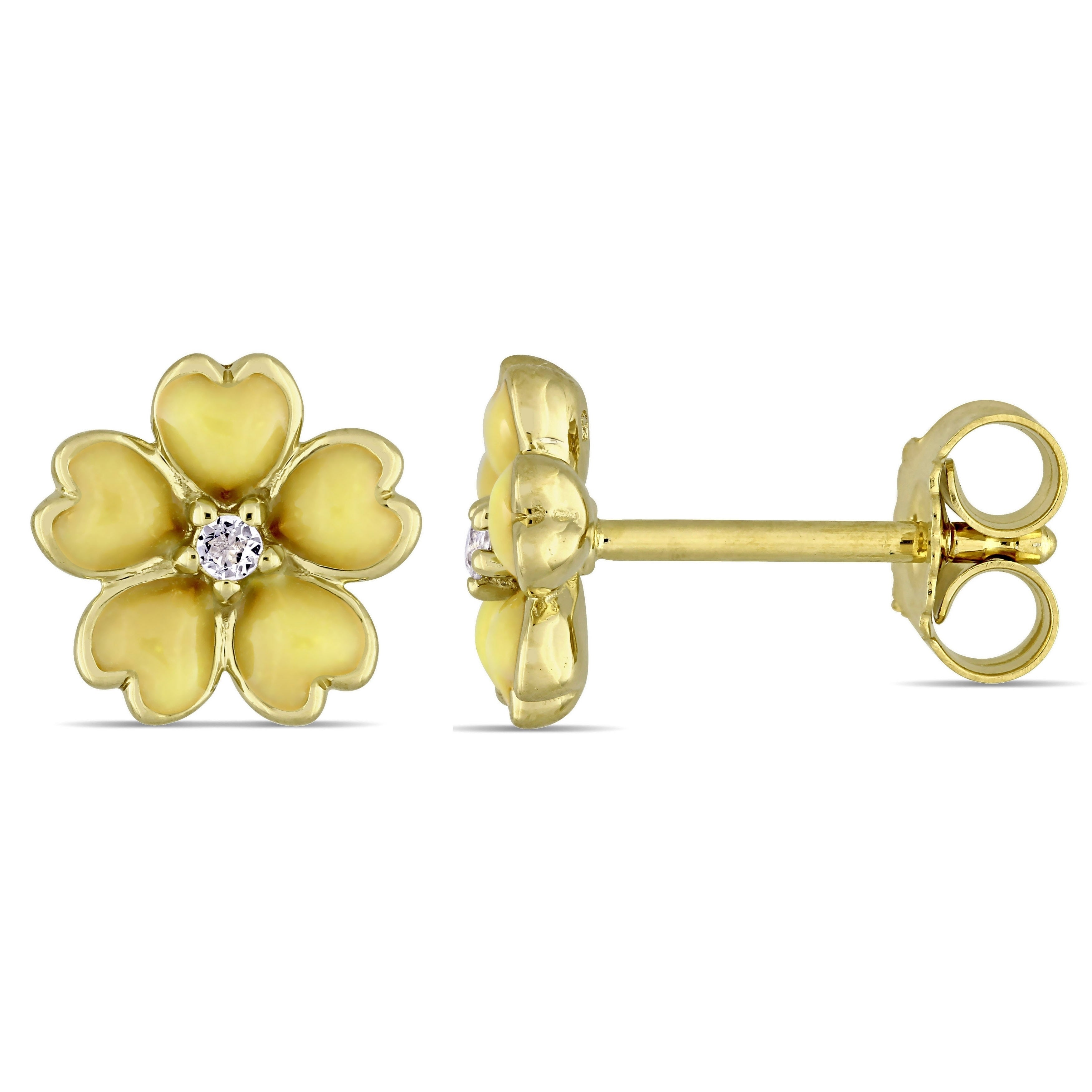 white Topaz stud earrings butterfly backs 14k solid yellow gold cultured Pearl