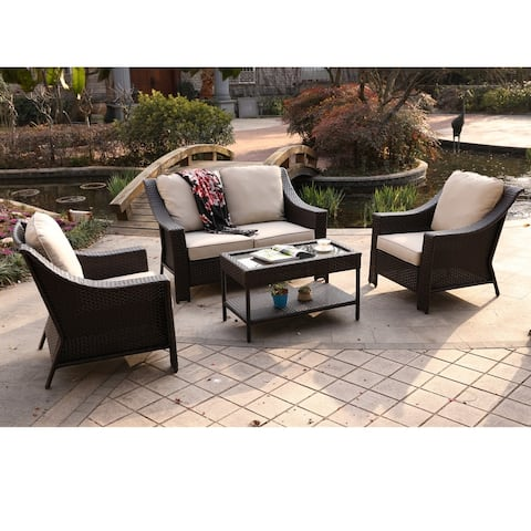 Del Rey 4-piece Wicker Aluminum Frame Deep Seating Set with Cushions