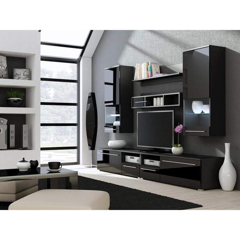 Luna High Gloss Tv Cabinet Shelf Set