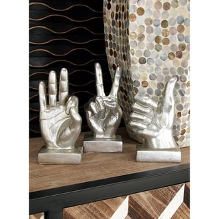 """Hand Sculptures w/ Thumbs Up, Peace Sign & """"OK"""" Gestures Set of 3"""