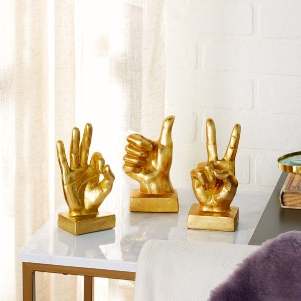 Shop Gold Hand Sculptures W Thumbs Up Peace Sign Amp Quot Ok