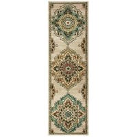 "Copper Grove Delphinium Beige Medallion Runner Rug - 2'3"" x 7'6"" Runner"