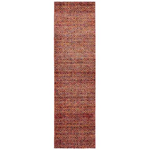 "Strick & Bolton Palsa Red Textural Runner Rug - 2'3"" x 8' Runner"