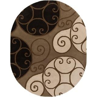 Porch & Den Farrar Hand-tufted Wool Abstract Oval Area Rug - 6' x 9' Oval/Surplus