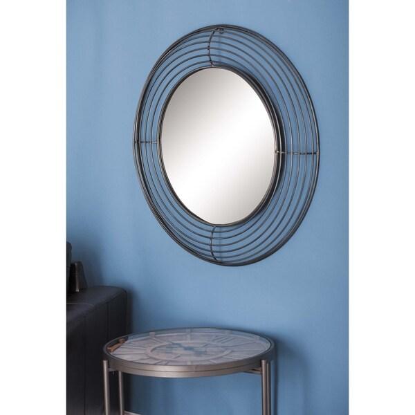 Strick & Bolton Buri Round Black Iron Wall Mirror