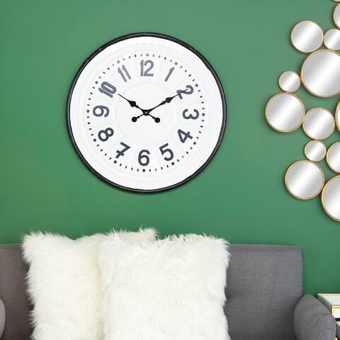 """Round, Farmhouse Style Dark Teal & White Metal Wall Clock 27"""" x 27"""""""