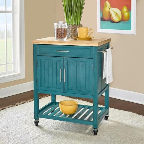 The Curated Nomad Coyote Teal Kitchen Cart