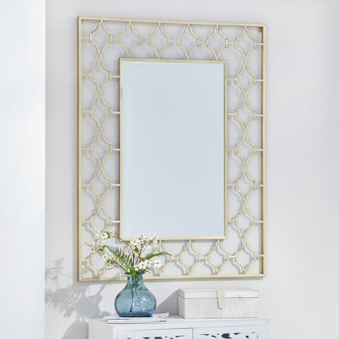 "Large Contemporary Wall Mirror in Metallic Silver Frame 36"" x 36"""