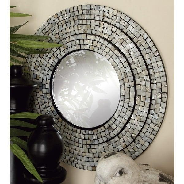 Strick & Bolton Buri Decorative Wood Mirror (Set of 2) - Multi