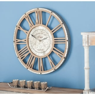 The Gray Barn Coconut Grove Round Metal and Wood Wall Clock